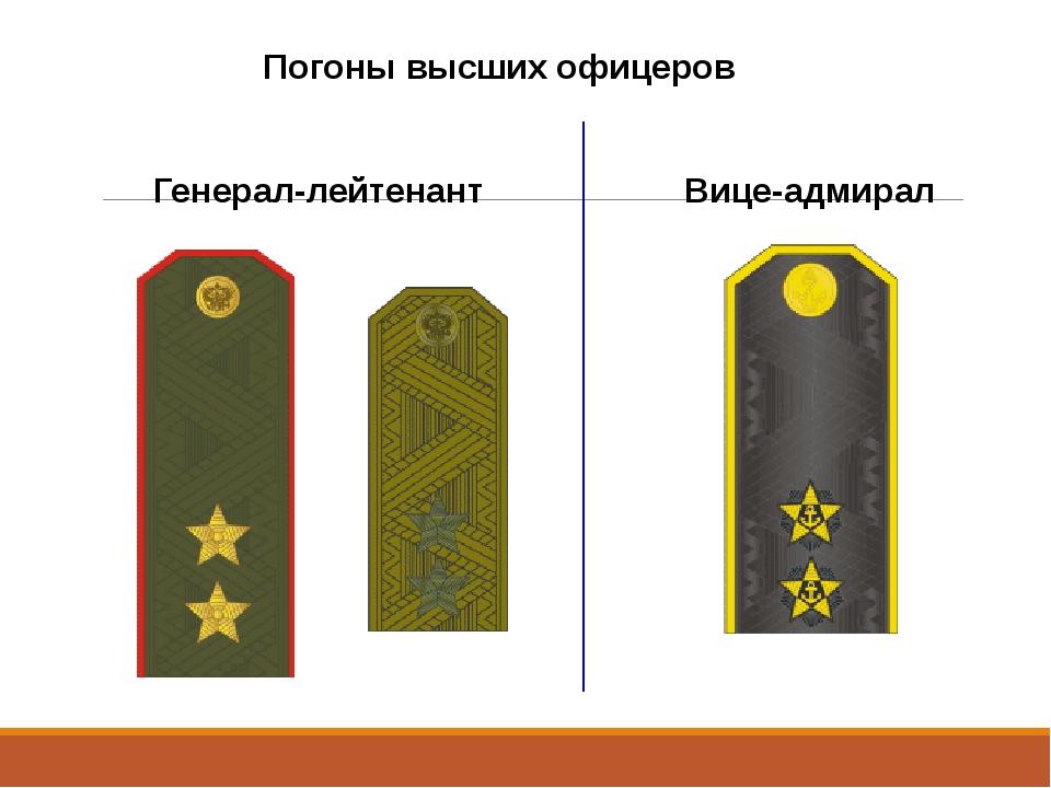Погоны высших офицеров Генерал-лейтенант Вице-адмирал