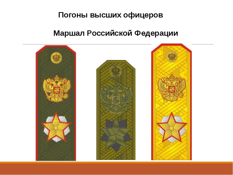 Погоны высших офицеров Маршал Российской Федерации