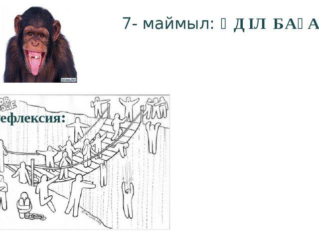 7- маймыл: ӘДІЛ БАҒА Рефлексия: