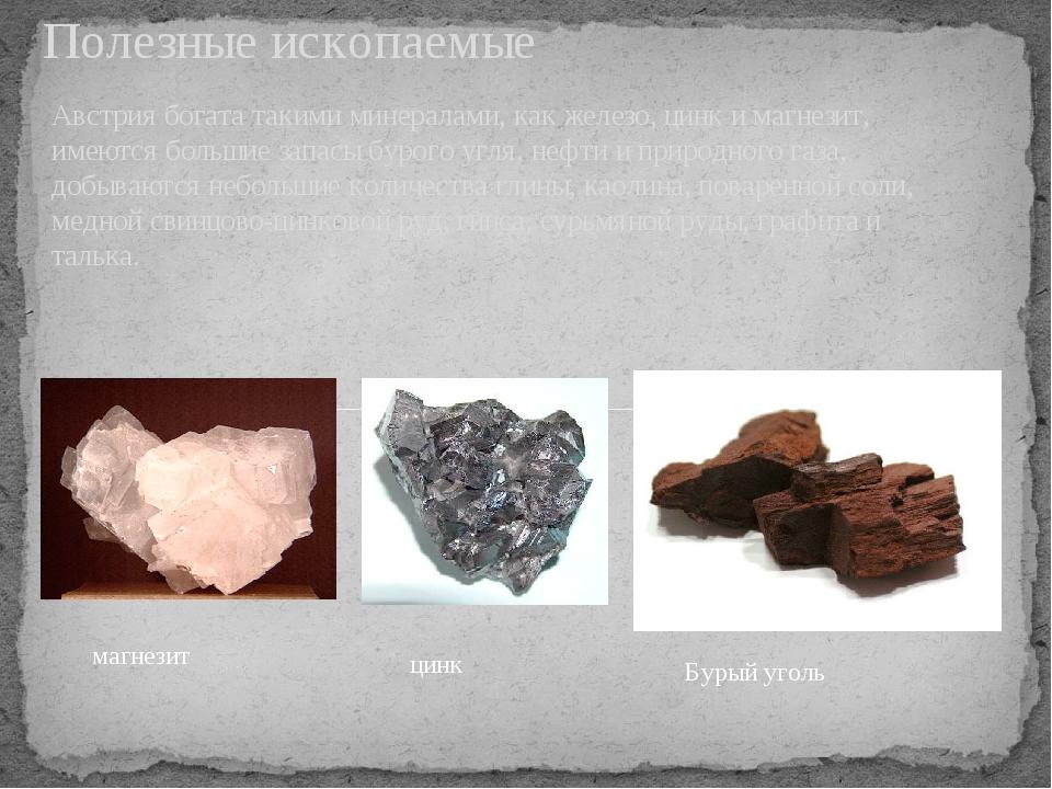 Австрия богата такими минералами, как железо, цинк и магнезит, имеются больши...
