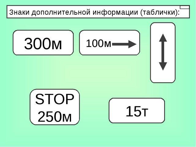 Знаки дополнительной информации (таблички): 300м STOP 250м 15т