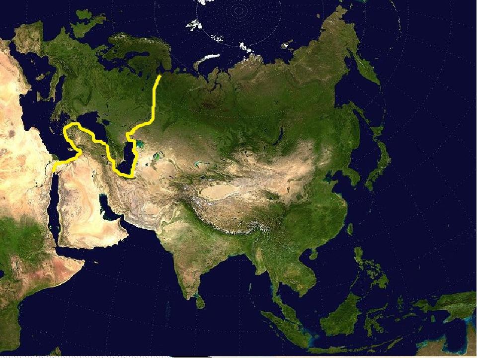 Определите границу между Азией и Европой