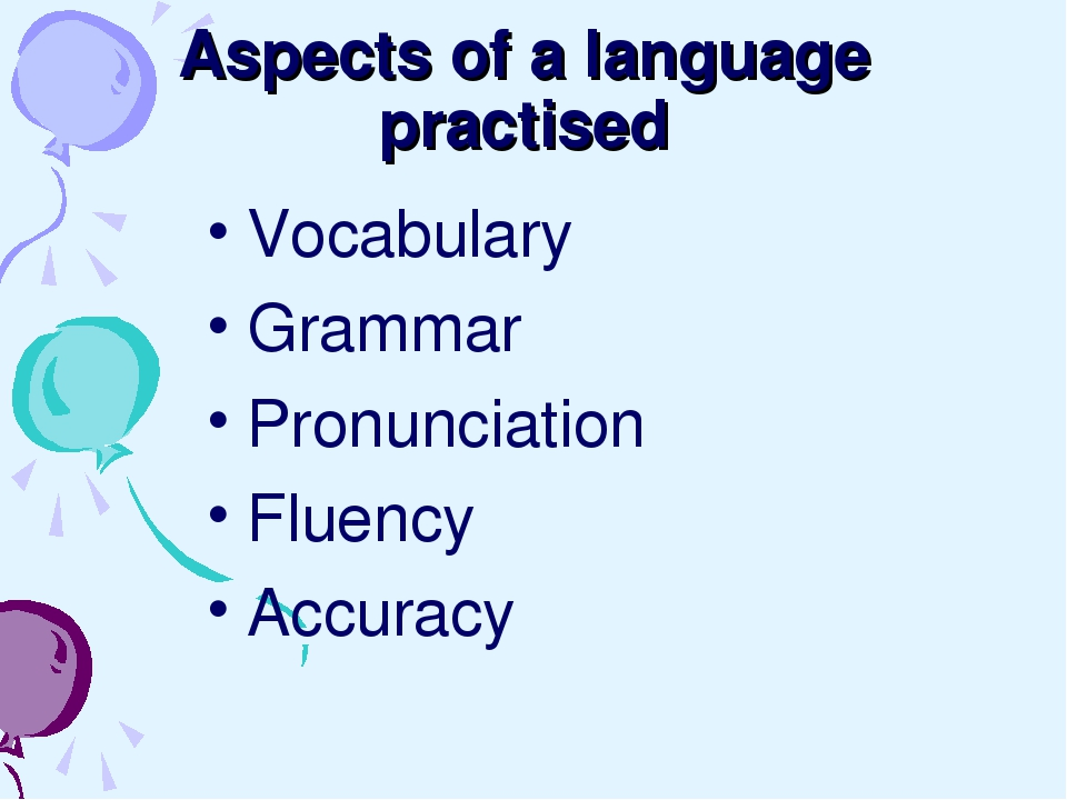 Aspects of a language practised Vocabulary Grammar Pronunciation Fluency Accu...