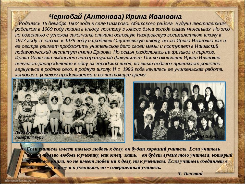 Чернобай (Антонова) Ирина Ивановна Родилась 15 декабря 1962 года в селе Наза...
