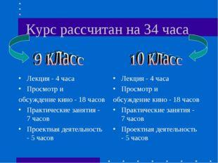 Курс рассчитан на 34 часа Лекция - 4 часа Просмотр и обсуждение кино - 18 час