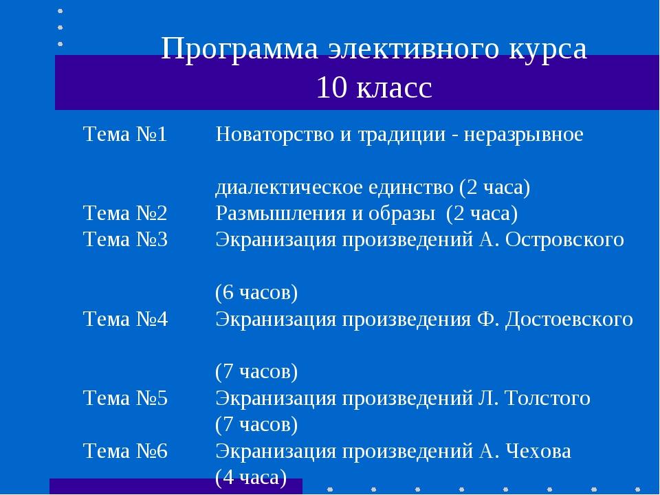 Программа элективного курса 10 класс Тема №1Новаторство и традиции - неразры...