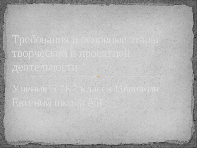"""Ученик 5 """"Б"""" класса Ивашкин Евгений школа #61 Tребования и основные этапы тво..."""