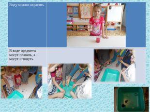 Водуможно окрасить В воде предметы могут плавать, а могут и тонуть