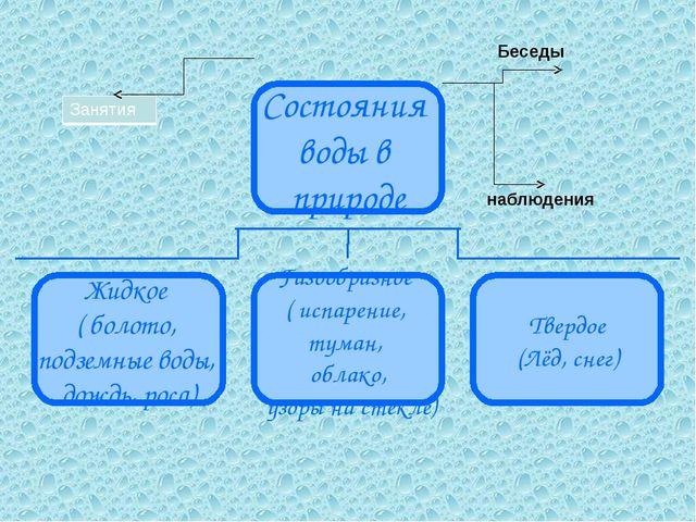 Беседы наблюдения Состояния воды в природе Жидкое ( болото, подземные воды, д...