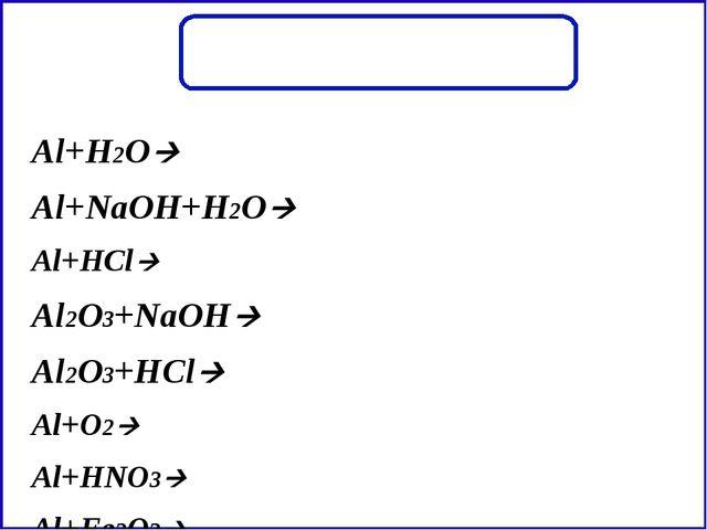 Al+H2O Al+NaOH+H2O Al+HCl Al2O3+NaOH Al2O3+HCl Al+O2 Al+HNO3 Al+Fe2O3...