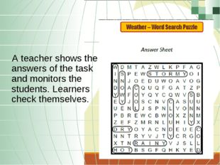 A teacher shows the answers of the task and monitors the students. Learners c