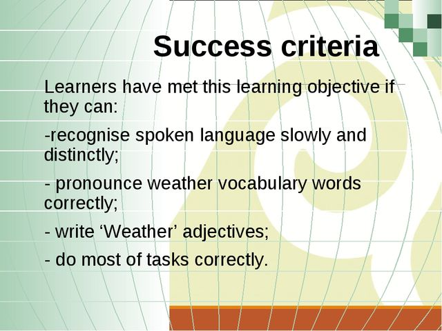 Success criteria Learners have met this learning objective if they can: -reco...