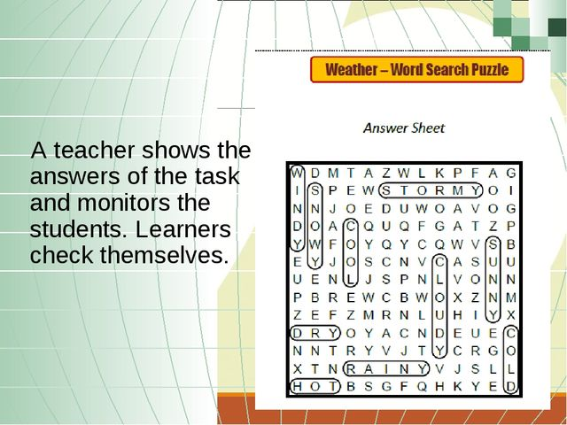 A teacher shows the answers of the task and monitors the students. Learners c...