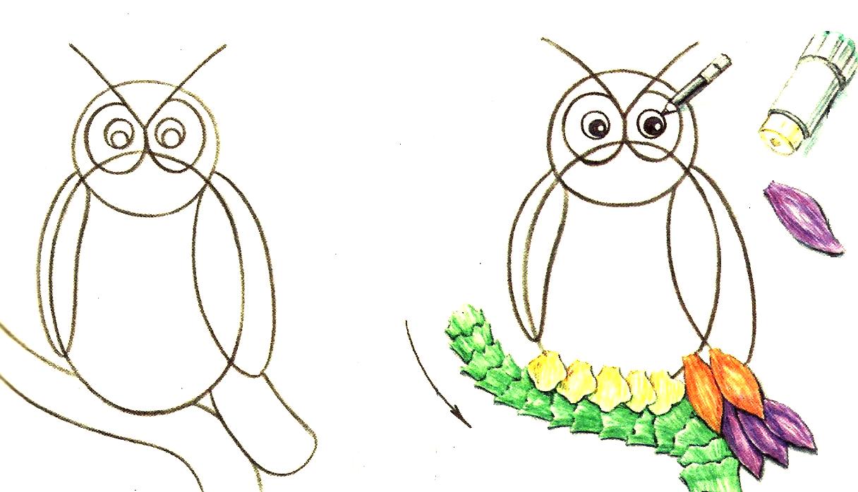 Рисунок совы для поделки 41