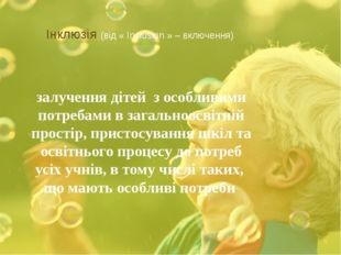 Інклюзія (від « Inclusion » – включення) залучення дітей з особливими потреб