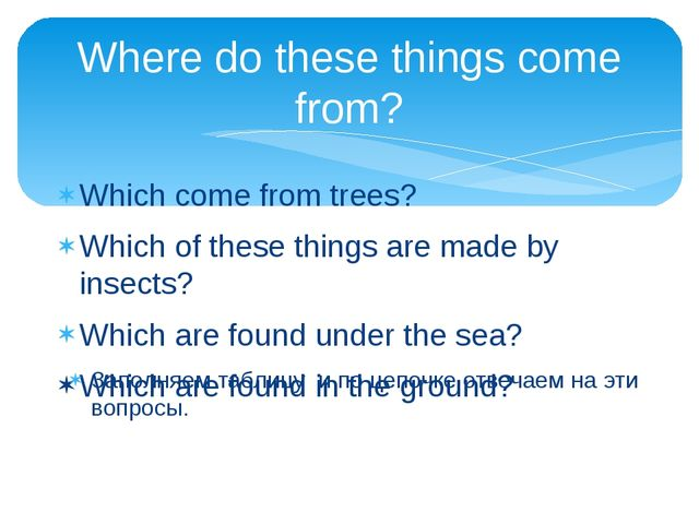 Where do these things come from? Which come from trees? Which of these things...