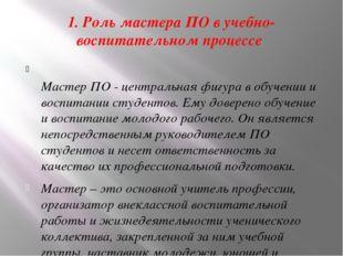 1. Роль мастера ПО в учебно-воспитательном процессе Мастер ПО - центральная
