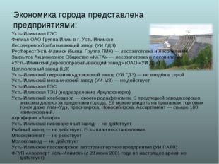Экономика города представлена предприятиями: Усть-Илимская ГЭС Филиал ОАО Гру