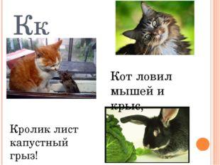 Кк Кот ловил мышей и крыс, Кролик лист капустный грыз!