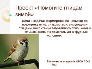 Проект «Помогите птицам зимой» Цели и задачи: формирование навыков по подкорм