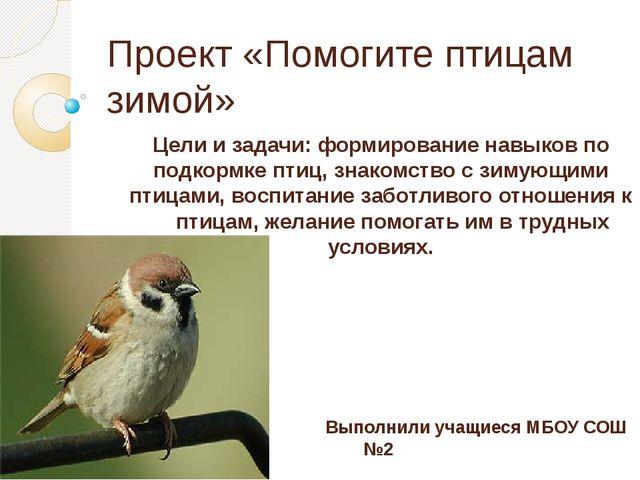 Проект «Помогите птицам зимой» Цели и задачи: формирование навыков по подкорм...