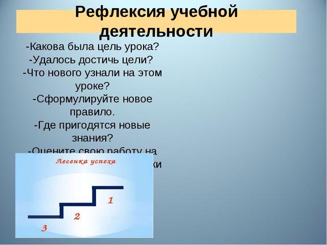 Рефлексия учебной деятельности -Какова была цель урока? -Удалось достичь цел...