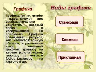 * Графика Графика (от гр. grapho - пишу, рисую) - вид изобразительного искус