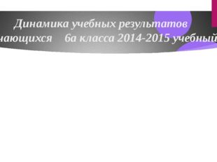 Динамика учебных результатов обучающихся 6а класса 2014-2015 учебный год