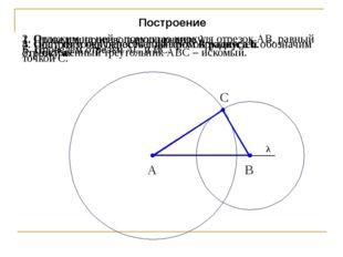 Построение 1. Проведем произвольную прямую λ. 2. Отложим на ней с помощью цир