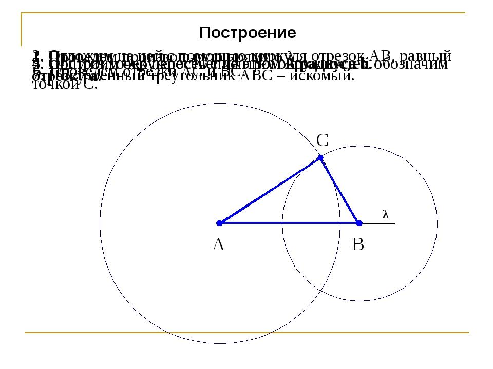 Построение 1. Проведем произвольную прямую λ. 2. Отложим на ней с помощью цир...