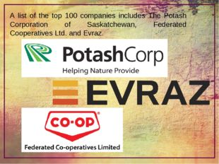 A list of the top 100 companies includes The Potash Corporation of Saskatchew