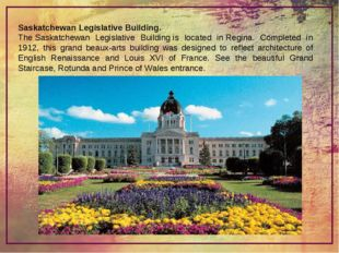 Saskatchewan Legislative Building. TheSaskatchewan Legislative Buildingis l