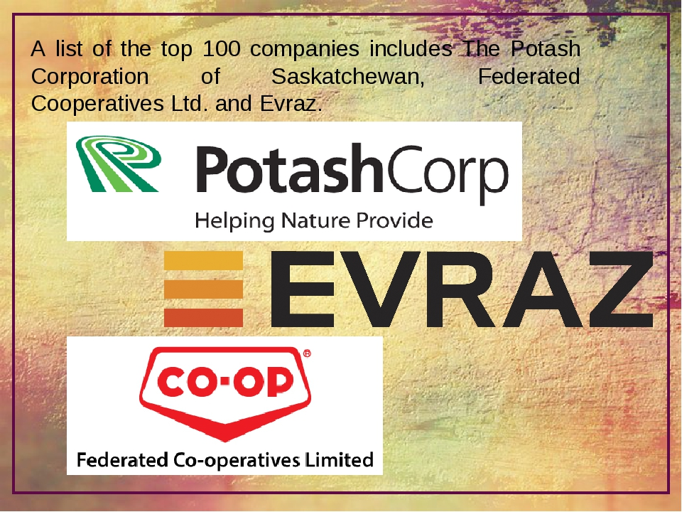 A list of the top 100 companies includes The Potash Corporation of Saskatchew...
