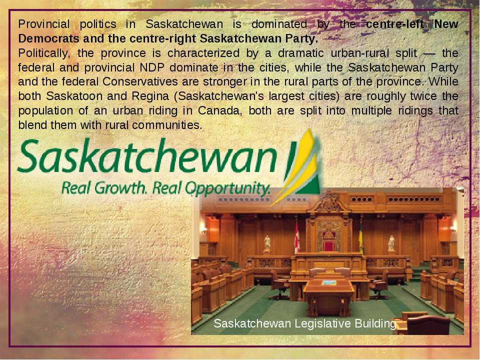 Provincial politics in Saskatchewan is dominated by the centre-left New Democ...