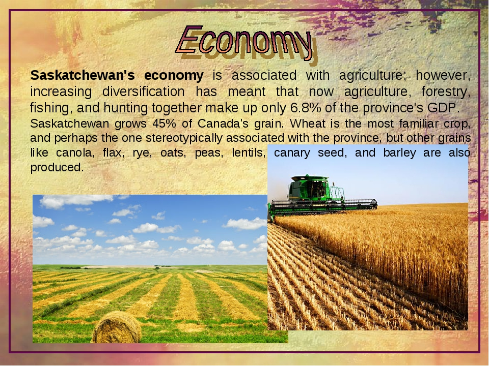 Saskatchewan's economy is associated with agriculture; however, increasing di...