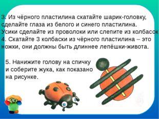 3. Из чёрного пластилина скатайте шарик-головку, сделайте глаза из белого и с
