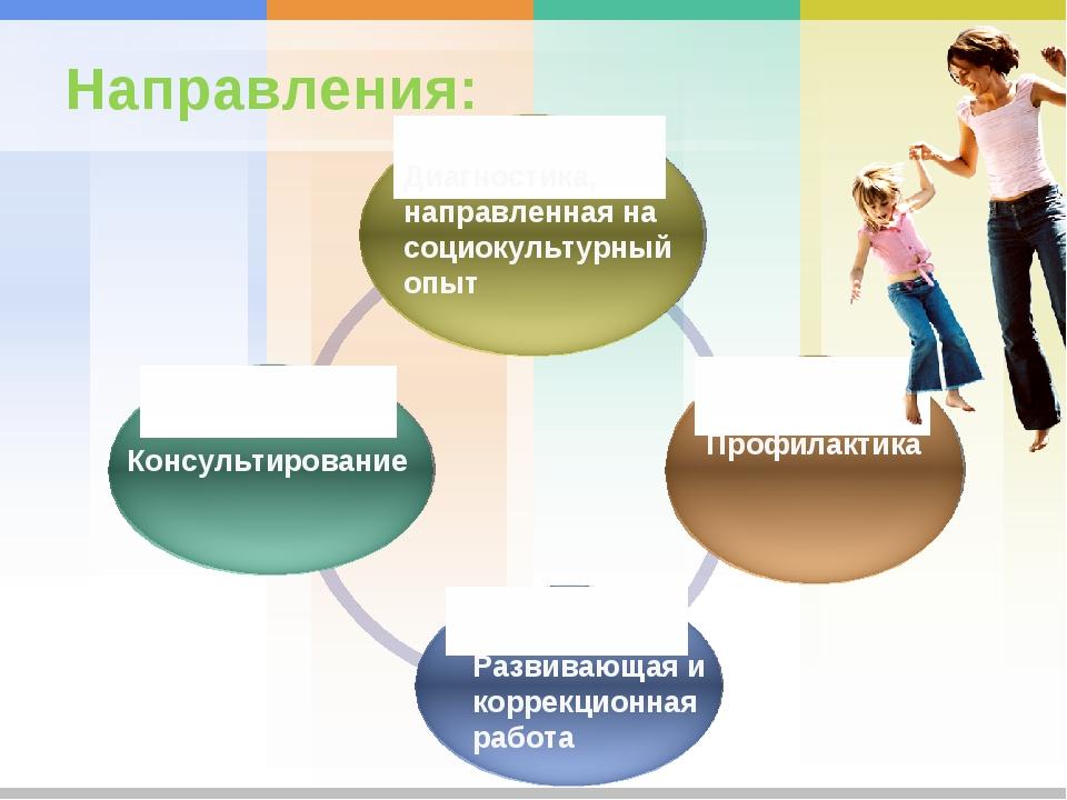 Направления: Диагностика, направленная на социокультурный опыт Консультирован...