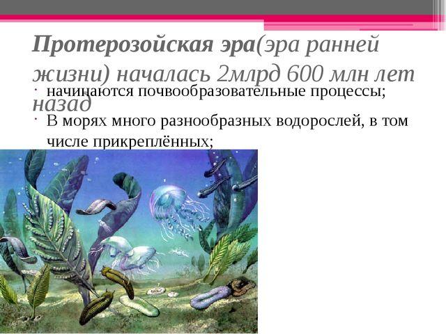 Протерозойская эра(эра ранней жизни) началась 2млрд 600 млн лет назад начинаю...