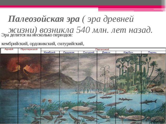 Палеозойская эра ( эра древней жизни) возникла 540 млн. лет назад. Эра делитс...