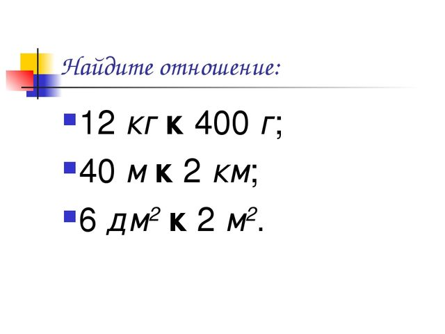 Найдите отношение: 12 кг к 400 г; 40 м к 2 км; 6 дм2 к 2 м2.