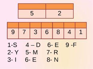 1-S 4 – D 6- E 9 -F 2- Y 5- M 7- R 3- I 6- E 8- N 5 2 9 7 3 6 8 4 1