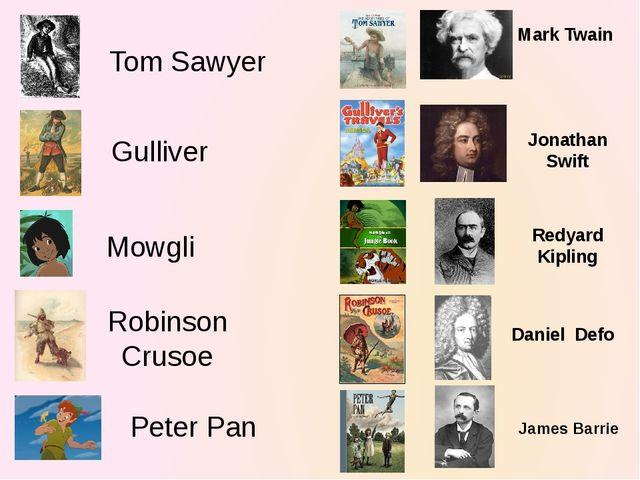 Tom Sawyer Mark Twain Gulliver Jonathan Swift Mowgli Redyard Kipling Robinson...