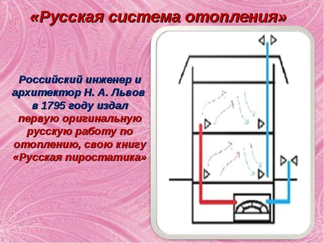 «Русская система отопления» Российский инженер и архитектор Н. А. Львов в 179...