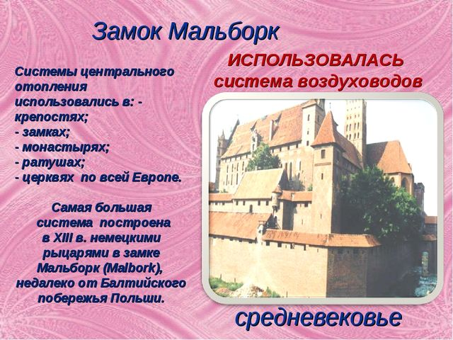 Замок Мальборк средневековье Системы центрального отопления использовались в:...