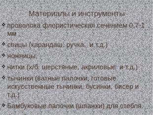 Материалы и инструменты проволока флористическая сечением 0,7-1 мм , спицы (к