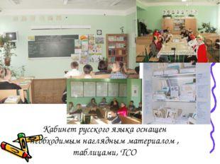 Кабинет русского языка оснащен необходимым наглядным материалом , таблицами,
