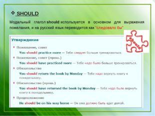 SHOULD Модальный глаголshouldиспользуется в основном для выражения пожелан