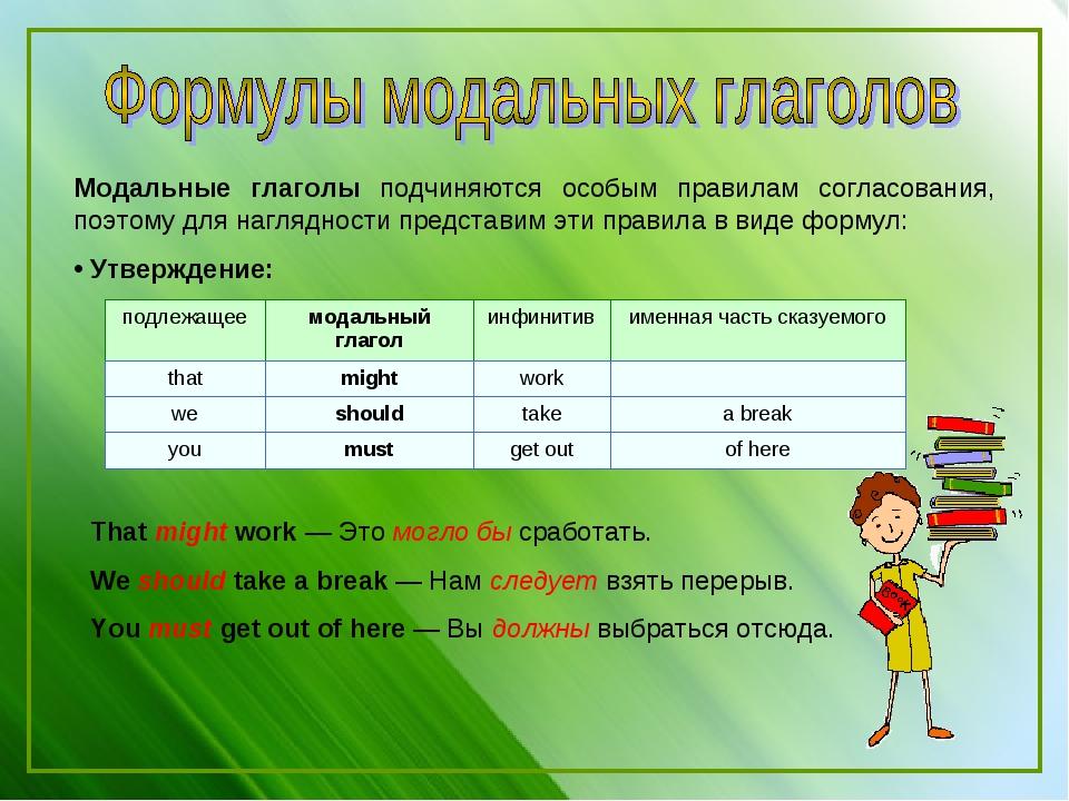 Модальные глаголы подчиняются особым правилам согласования, поэтому для нагля...