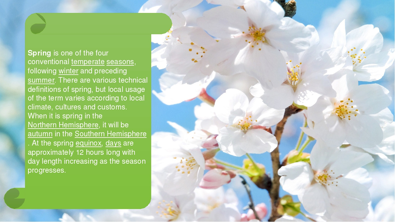 Spring is one of the four conventional temperate seasons, following winter a...