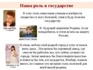 Наша роль в государстве Александр, 12 лет г. Саратов Я- будущий защитник Роди
